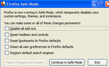 Firefox Running In Safe Mode with Extensions Disabled