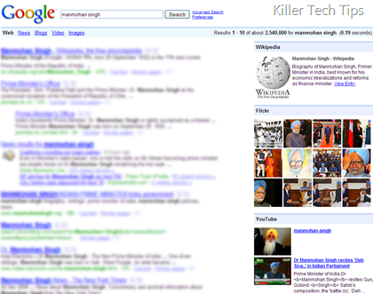 Display integrated results from Wikipedia, Flickr and Youtube on Google Search