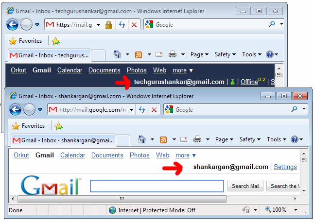 Logged in to multiple Gmail accounts using IE 8