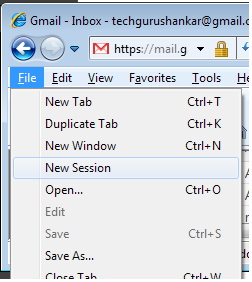 Start a new session in IE 8 to manage multiple email accounts