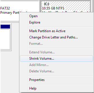 Resize Partitions in Windows 7