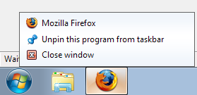 Firefox doesn't take advantage of Windows 7 Jumplist features
