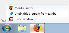 Firefox doesn't take advantage of Windows 7 Jumplist features