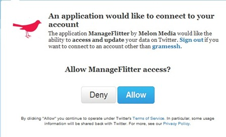 Allow access for ManageFlitter
