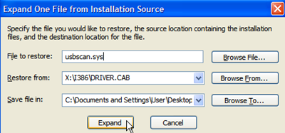 How to restore missing usbscan.sys file?