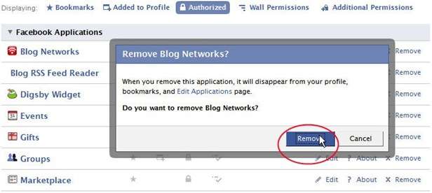 How to remove a Facebook application from a Facebook account?